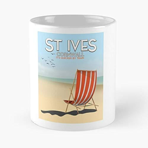 Ocean Beach Birds Transport Vacation Chair Vintage Holiday Cornish the best 11oz coffee mugs Made from ceramic