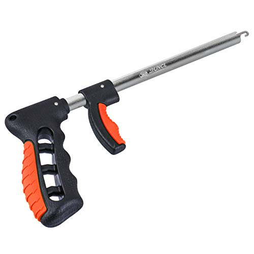 """RUNCL Fishing Hook Remover Extractor, Fish Hook Remover Saltwater, Fish Release Tool - Squeeze Out, Long Nose, Spring Loaded Widen Handle - Ice Fishing Hook Remover Fishing Dehooker - Orange 10.6"""""""
