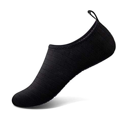 SIMARI Unisex Water Sports Shoes Barefoot Slip-on Indoor Outdoor Sports Activities SWS001 Stripe Black 10-11