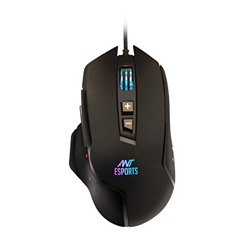 Ant Esports GM300 RGB Wired Gaming Mouse with Optical Sensor 1000 Hz Polling Rate | 4800 DPI for FPS and MOBA Games - Black