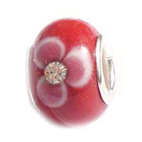 La Olivia Collection BD138 - TOC BEADZ - Rot mit Blüten und Stein; Glaselement -8mm-