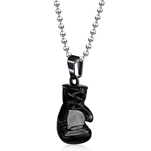 WSXEDC Collar Colgante para Mujer,Exquisito Collar Negro Guantes De Boxeo Colgante Tallado Cadena Larga Encanto Joyería para Novia, Cumpleaños Navidad Regalo De Pareja
