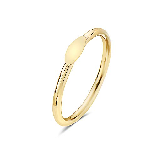 PORI JEWELERS 14K Solid Yellow Gold Geometric Shapes Minimalist Trendy Rings - All Shapes (Oval, 7)