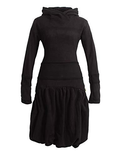 Vishes - Alternative Bekleidung - Langes Langarm Damen Winter-Kleid Ballonkleid Kapuzen-Kleid Eco-Fleece schwarz 38