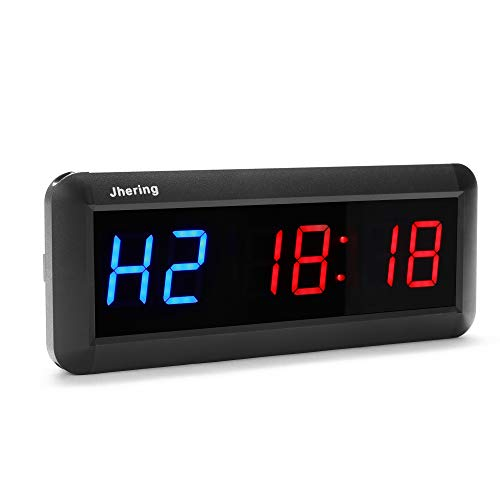 N/ A Jhering 1.5 Inch 6 Digital Led Interval Timer Stopwatch Countdown Clock for Gym Fitness Home(Blue/Red)