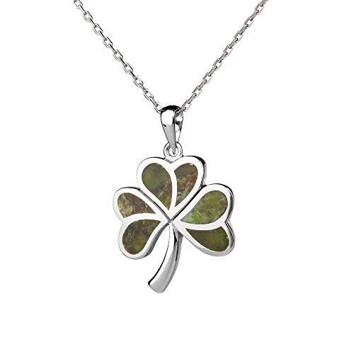 Irish Shamrock - Irisches Kleeblatt Anhänger & Kette - Silber & Connemara Marmor