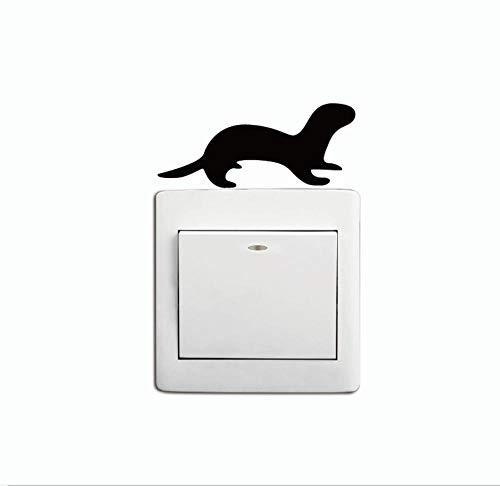 Wandtattoos Wandbildersüße Otter Wiesel Schalter Aufkleber Cartoon Tier Silhouette Vinyl Wandaufkleber Dekoration 3.2X7.6 Cm