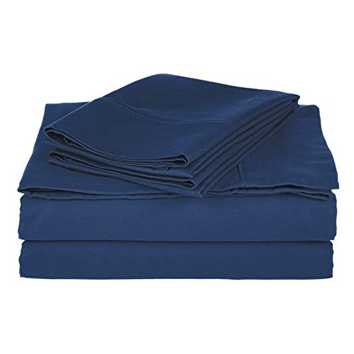 3piece Casual 800 Thread Count Cotton Bed Sheet Twin XL - All Season Lightweight Classic Navy Blue Aesthetic Bedding Fade Wrinkle Resistant Soft Luxury Deep Pocket Flannel Sheet Flat Fitted Pillowcase