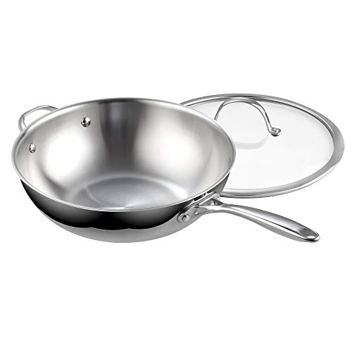 Cooks Standard 2595 Standard Stainless Steel Multi-Ply Clad Wok, 12-Inch with Glass Lid, Silver