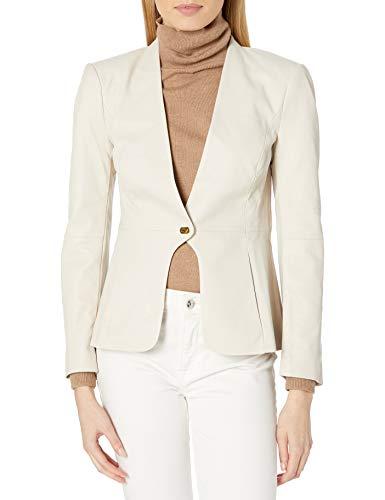 Halston Heritage Damen-Lederjacke mit Drehverschluss - Beige - Medium