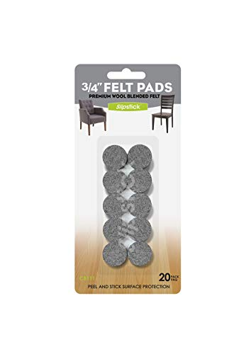 Slipstick Premium Wool Felt Furniture Pads/Small Chair Feet Floor Protectors (3/4 Inch Round) Includes 20 Heavy-Duty Felt Pads with Self Stick Adhesive, Gray, CB111