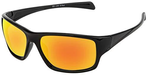La Optica Gafas de Sol LOS1 UV400 Deportivas da Hombre y Mujer, Brillante Negro (Lentes: Rojo Espejo)