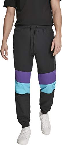 Urban Classics Herren Hose 3-Tone Crinkle Track Pants Black/Ultraviolet/Aqua Größe: L