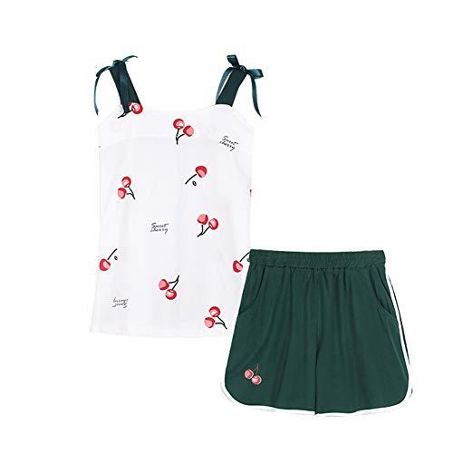 Elefant Schlafanzüge Damen Weiß Tumblr T Shirt Kurz Hosen Nachtwäsche Schlafoveralls Oberteile Pyjama Mädchen Teenager (Kirsche, Small)