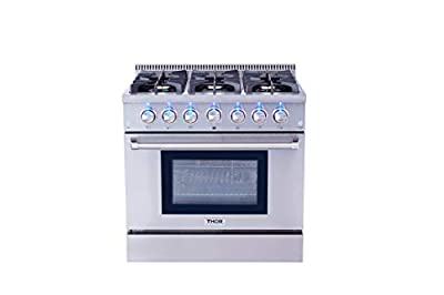 Thor Kitchen HRG3618U 36 in. Freestanding Professional Style Gas Range with 5.2 Cu. Ft. Oven, 6 Burners, Convection Fan, Cast Iron Grates, Blue Porcelain Oven Interior, In Stainless Steel