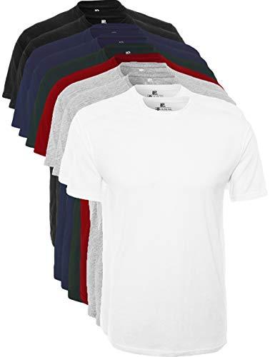 Lower East Herren T-Shirt mit Rundhalsausschnitt, 10er Pack, Mehrfarbig (Schwarz/Weiß/navy/Grau/rot/Grün), Large