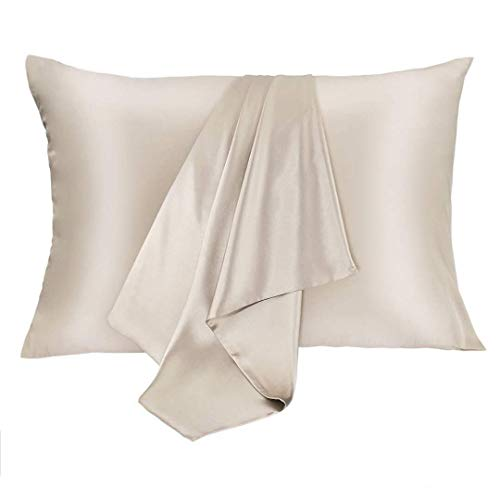 JOGJUE Silk Pillowcase for Hair and Skin 2 Pack 100% Mulberry Silk Bed Pillowcase Hypoallergenic Soft Breathable Both Sides Silk Pillow Case with Hidden Zipper, Queen Size Pillow Cases (Buff Beige)