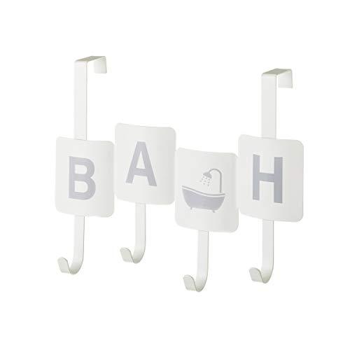 Perchero de baño para Puerta de 4 Ganchos Industrial Blanco de Metal de 27x11x35 cm   home