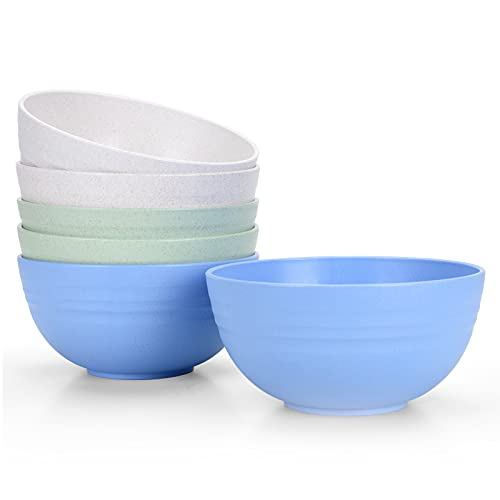 [Set of 6] Unbreakable Cereal Bowls 24 OZ Microwave and Dishwasher Safe BPA Free E-Co Friendly Bowl Mixed Color for Cereal, Salad, Soup, Rice