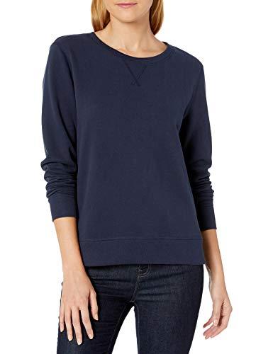Amazon Essentials Women's French Terry Fleece Crewneck Sweatshirt, Navy, Small