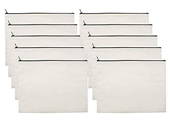 10 PCS White Canvas Makeup Cosmetic Bag - Pouch Zipper Bag Organizer