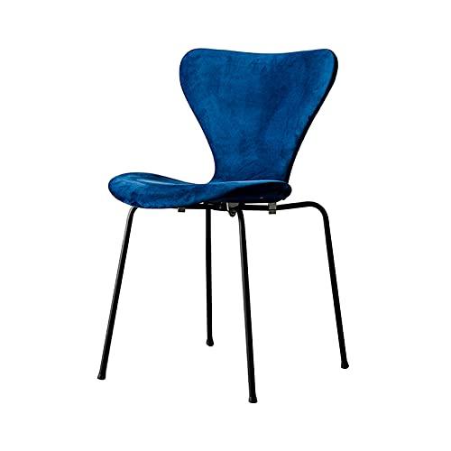 Comer Silla del diseñador Avanzada del Respaldo de Terciopelo butaca Decorativa de la Sala de Estudio Silla de la Esquina para la Seguridad del Restaurante Recepción Azul