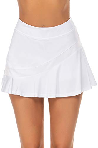 Ekouaer Tennis Golf Skirt Solid Running 2 Layer Pleated Skorts Casual Sports Apparel White