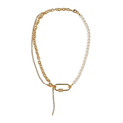 Fantex Cadena Figaro de corte de diamante de 18 quilates con perlas brillantes y múltiples capas, cadena de gargantilla urbana con mosquetón para mujer