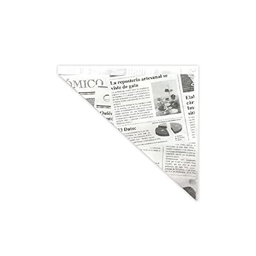 Gráficas Salaet – 100 Conos papel antigrasa impresos tipo periódico – Impresión tipo periódico – 190x180x255 mm - Repostería y pastelería
