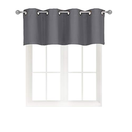 Home Queen Grommet Top Blackout Curtain Valance Window Treatment for Living Room, Short Straight Drape Valance, Set of 1, 54 X 18 Inch, Charcoal