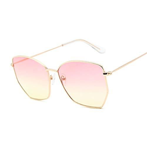 NJJX Gafas De Sol De Ojo De Gato Para Mujer, Gafas De Sol De Metal Vintage Para Mujer, Montura Grande, Espejo Degradado, Rosa, Amarillo