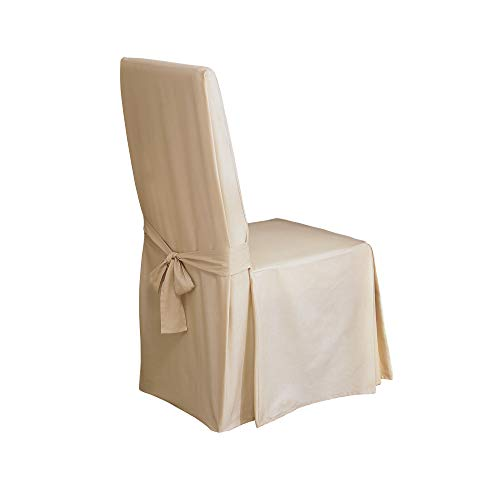 Surefit Home Décor Duck Solid Long Full Length Dining Room Chair One Piece Slipcover, Relaxed Fit, 100% Cotton, Machine Washable, 24x24x42 Inches, Natural Color