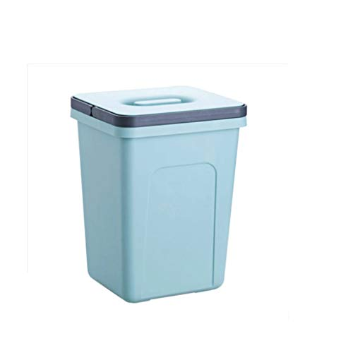 LUAN Cubos de Basura Prenda Impermeable con la Basura Basura plástica del plástico de la Oficina del Dormitorio plástico de la Oficina con manijas Papelera (Color : Blue-Green)