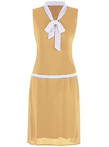 VIJIV Womens 1920s Inspired Flapper Dress High Tea V Neck Bowknot Roaring 20s Fashion Great Gatsby Dress Downton Abbey Yellow X-Large