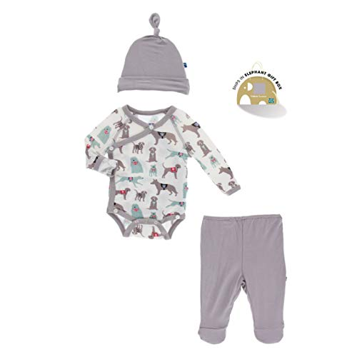 KicKee Pants Kimono Newborn Gift Set with Elephant Box (Natural Canine First Responders - 0-3 Months)