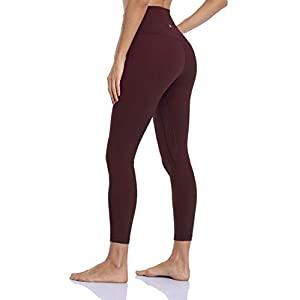 HeyNuts Hawthorn Athletic Essential II High Waisted Yoga Leggings for Women, Buttery Soft Workout Pants Compression 7/8 Leggings with Inner Pockets Cassis_25'' S(4/6)