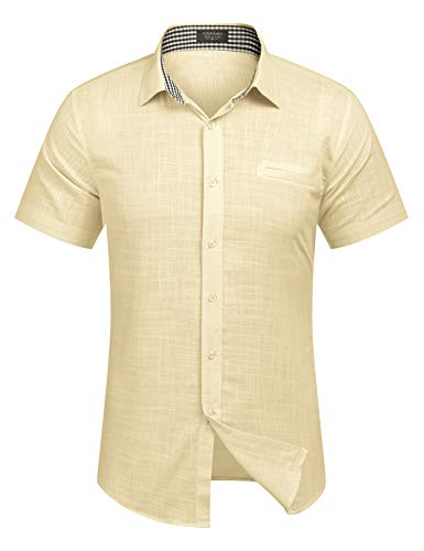 COOFANDY Men#039s RegularFit ShortSleeve Solid Linen Cotton Shirt Casual Button Down Beach Shirt Light Khaki