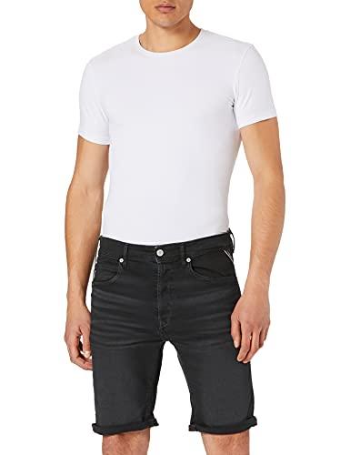 REPLAY RBJ.901 Short Pantalones Cortos de Jean, 998 Black Delavè, 28 para...