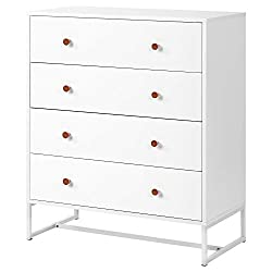 [Spacious]Ivory white storage cabinet with four extra-large drawers for ample storage and organizational space. [Elevates Base]Sturdy metal base to prevent tipping, plastic fitted anti-slipping pads to protect flooring. [High Quality Build]High quali...
