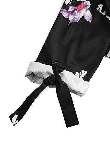YOINS Vestido Casual para Mujer Verano Vestidos Largos de Fiesta Manga Corta con Cuello Redondo Mini Vestido Suelto
