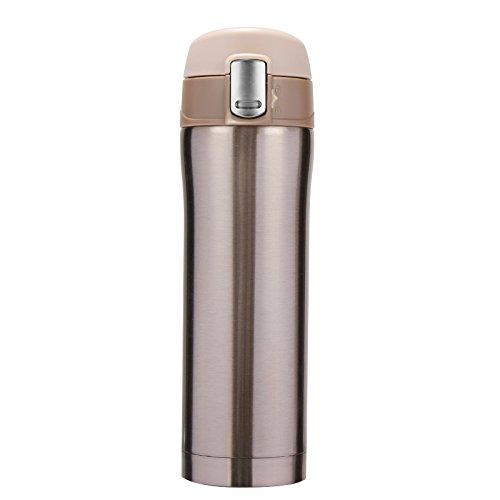 Shui ^ Voor reisbeker, thermobeker, roestvrij staal, dienblad, hoge capaciteit, kopjes, draagbaar, 450 ml, champagne