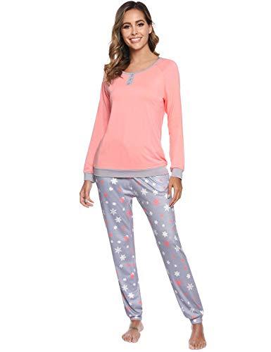 Abollria Pijama para Mujer 2 Piezas Conjuntos Camiseta y Pantalones Ropa de Casa Mujer (L, Naranja)