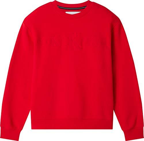 Calvin Klein CK Eco Crew Neck Suéter, Red Hot, XS para Hombre