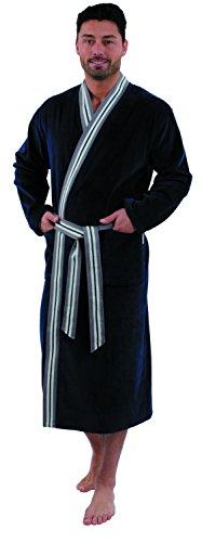 Carl Ross Herren Saunamantel Bademantel Kimono Velour M - 4XL Übergrössen, Grösse:Large, Farbe:Marine