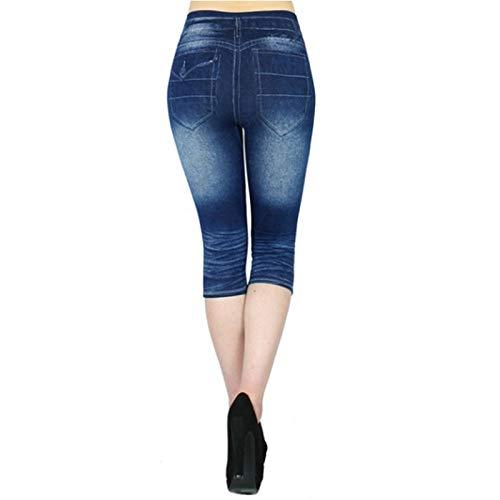 HOSD Leggings Cortos de Mezclilla Falsa Impresos 3 4 Leggings Vaqueros de Mujer Pantalones de Cintura Alta Pantalones Capri Jeggings súper elásticos Tallas Grandes