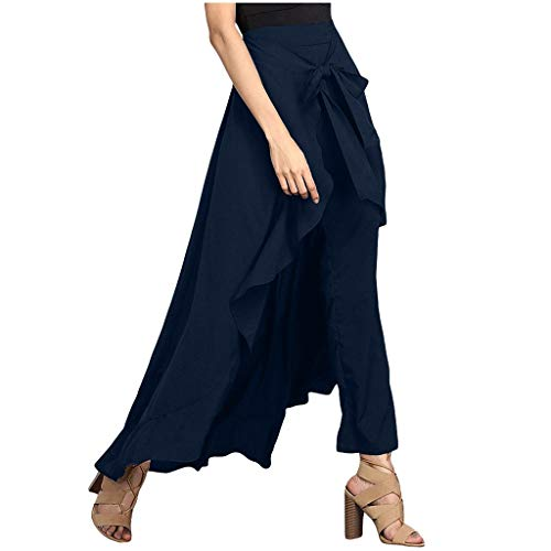 Womens Ruffle Pants Skirt High Waist Loose Legging Long Palazzo Overlay Pants Dark Blue