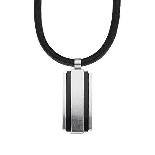 s.Oliver Herren-Kette mit Anhänger Lederhalsband Dog Tag IP Black Beschichtung Edelstahl Leder 50 cm-2012463