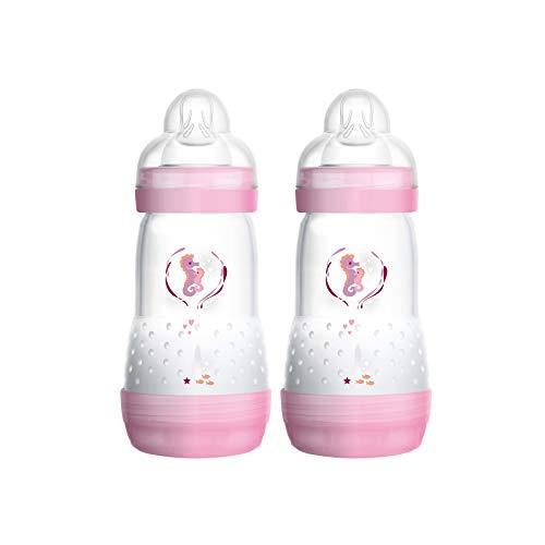 MAM Easy Start Anti-Colic Babyflasche im 2er-Set (260 ml), Milchflasche für die Kombination mit dem Stillen, Baby Trinkflasche mit Bodenventil gegen Koliken und Sauger Größe 1, 0+ Monate, Seepferdchen