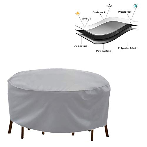 NINGWXQ Patio Cover Covers for Terrasmeubilair Waterproof Oxford doek Dust-proof Sun Protection Ronde Tuinameublement, verschillende maten, 2 kleuren (Color : Silver, Size : 240x100cm)