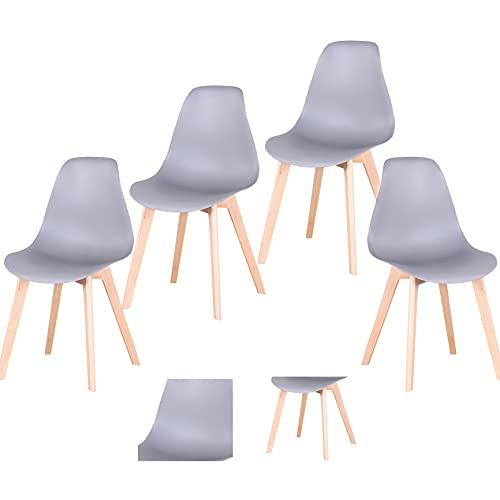 Silla de oficina para salón, silla de comedor plegable, silla de madera maciza con marco de hierro, adecuada para cocina, comedor, dormitorio, salón (Gray-jc, 4)